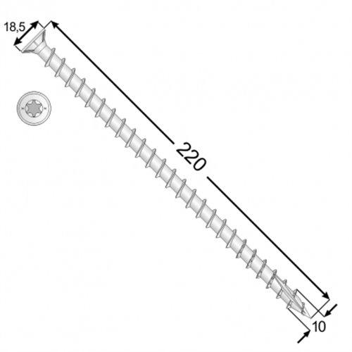 DMX Wkręt ciesielski CPS 10x220 stożkowy T50, 50szt