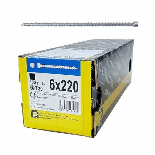 DMX Wkręt ciesielski CPW 6x220 walcowy, T30 100szt