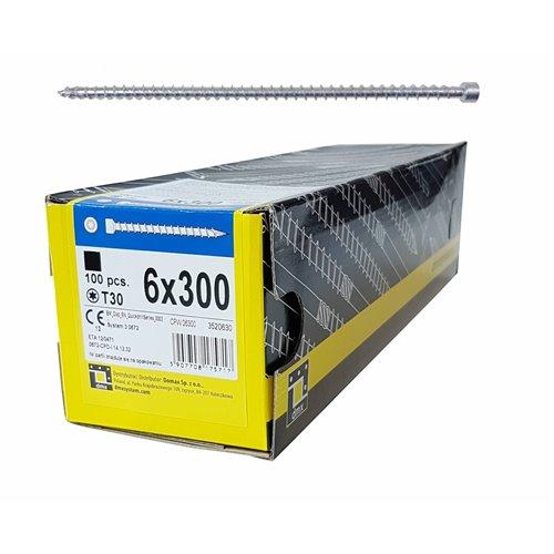 DMX Wkręt ciesielski CPW 6x300 walcowy, T30 100szt